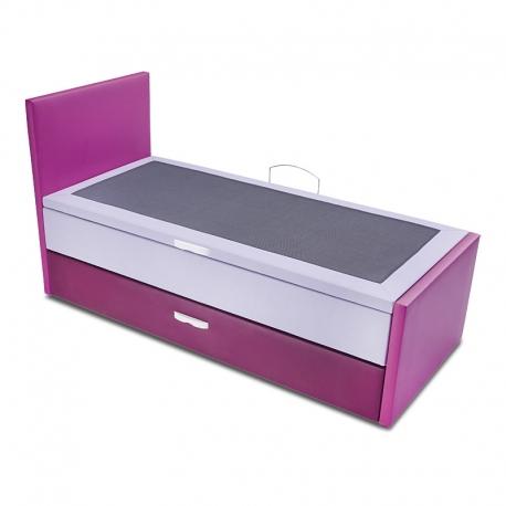 Compact avec lit gigogne et sommier lit coffre MULTIPLA. Hauteur de la tête de lit 110 cm - Hauteur du pied de lit 56 cm