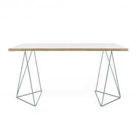 Bureau design FLOW TEMAHOME 140 x 75 blanc mat/bois et piétement vert