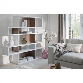 TemaHome *LONDON* Bibliothèque Design 5 niveaux - Bblanche avec Fonds en Noyer