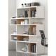 TemaHome LONDON biblioteca diseño 5 niveles blanco con fondos de nogal