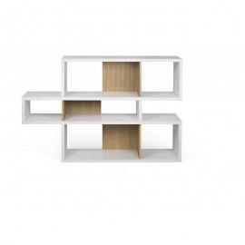 TemaHome *LONDON* Biblioteca Diseño 3 Niveles - Blanco con Fondos de Roble