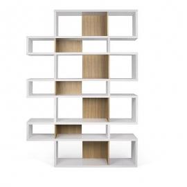 TemaHome *LONDON* Biblioteca Diseño 7 Niveles Blanco con Fondo Roble