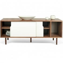 TemaHome *DANN* Buffet Design Noyer avec 2 Portes Blanches - Piétement Noyer