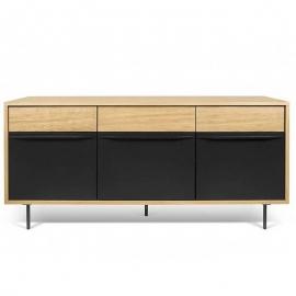 Tema Home *LIME* Buffet Design Chêne avec 3 Portes Laque Noire Mat - Pieds en Acier Laque Noire