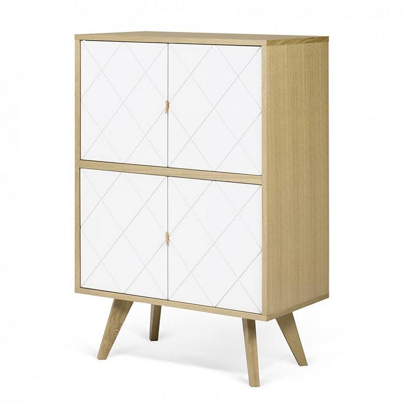 temahome brigitte buffet haut style scandinave 4 portes ch ne et blanc. Black Bedroom Furniture Sets. Home Design Ideas