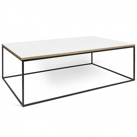 Tema Home Table basse rectangulaire GLEAM 120 plateau blanc mat structure laquée noir mat