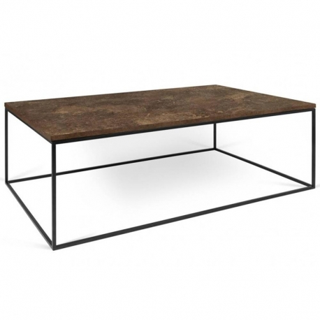 Tema Home Table basse rectangulaire GLEAM 120 plateau design rustique structure laquée noir mat