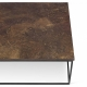 Tema Home Mesa de centro rectangular GLEAM 120 bandeja de diseño rústico estructura lacada en negro mate.