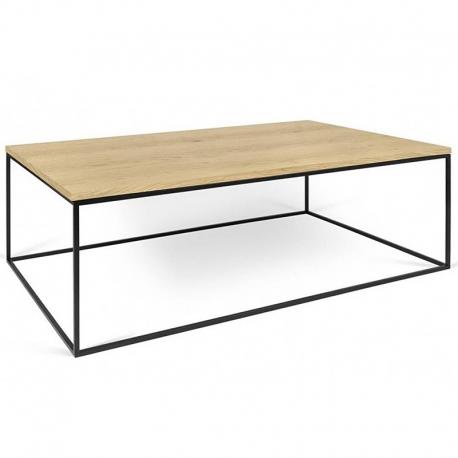 Tema Home Table basse rectangulaire GLEAM 120 plateau chêne structure laquée noir mat