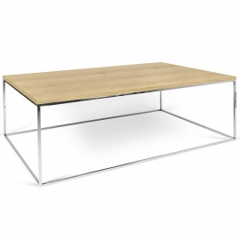Tema Home Table basse rectangulaire GLEAM 120 plateau chêne structure chromée