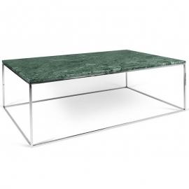 Tema Home Table basse rectangulaire GLEAM 120 plateau en marbre vert structure chromée