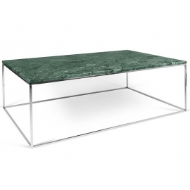 Tema Home Mesa de centro rectangular GLEAM 120 bandeja de mármol verde marco cromado