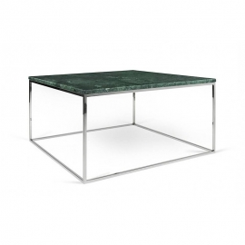Tema Home Table basse rectangulaire GLEAM 75 plateau en marbre vert structure chromée