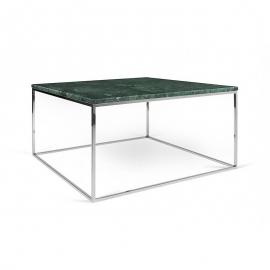 Tema Home Mesa de centro rectangular GLEAM 50 bandeja de mármol verde marco cromado.