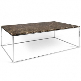Tema Home Table basse rectangulaire GLEAM 120 plateau en marbre marron structure chromée
