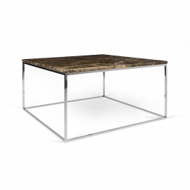 Tema Home Table basse rectangulaire GLEAM 75 plateau en marbre brun structure chromée