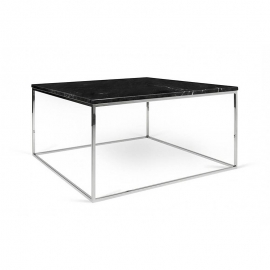 Tema Home Mesa de centro rectangular GLEAM 50 bandeja de mármol negro marco cromado