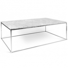 Tema Home Table basse rectangulaire GLEAM 120 plateau en marbre blanc structure chromée
