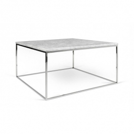 Tema Home Mesa de centro rectangular GLEAM 50 bandeja de mármol blanco marco cromado