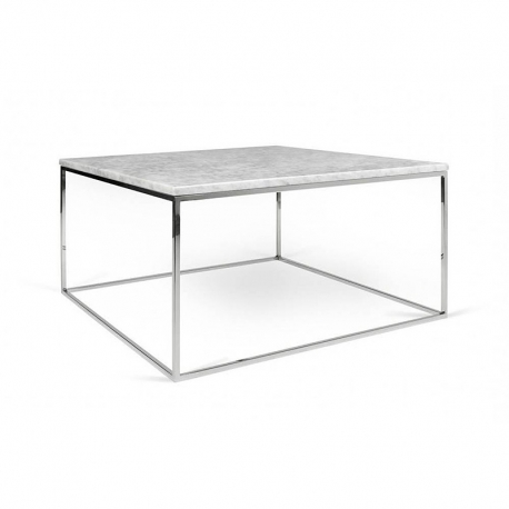 Tema Home Table basse rectangulaire GLEAM 50 plateau en marbre blanc structure chromée