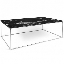 Tema Home Table basse rectangulaire GLEAM 120 plateau en marbre noir structure chromée