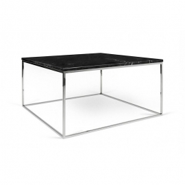 Tema Home Mesa de centro rectangular GLEAM 75 encimera de mármol negro marco cromado negro