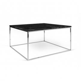 Tema Home Table basse rectangulaire GLEAM 75 plateau en marbre noir structure chromée