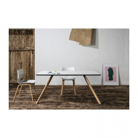 Table rectangulaire LESLY 160 cm couleur blanche