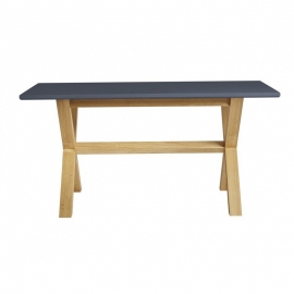 Table à manger rectangulaire LEIDI 160 cm anthracite / cire