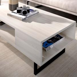 Table de salon rectangulaire SAM 120 cm  blanc / gris / gris anthracite