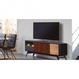 Meuble TV KAY 3P 1C gris anthracite / noyer / chêne / ver
